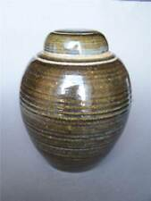 """Large Cinnamon Coiled Ceramic Round Vase or Urn with Fitted Lid 10"""" Tall"""