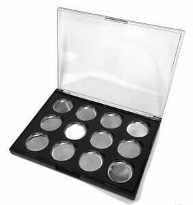 Empty Magnetic Eyeshadow case Palette box pigment Makeup 12 pans pressed Glitter