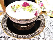 ROYAL STAFFORD tea cup and saucer black & gold gilt floral rose pattern teacup