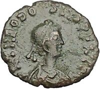 THEODOSIUS II 425AD Authentic Ancient Roman Coin Wreath, cross within i51078