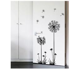 Wandtattoo Wandsticker schwarz Blumen Aufkleber Pusteblume Mädchen Kinderzimmer