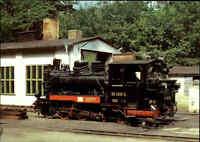 EISENBAHN Motiv Postkarte Dampflokomotive Lok im Bahnhof GÖHREN Rügen Ostsee