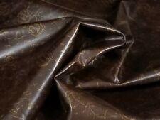 Dark Brown Gold Print Calf Leather Hide Crafts Binding Handbag Upholstery Wallet