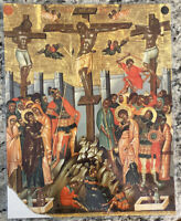 """Crucifixion 14x11"""" Laminated Greek Orthodox Icon #8"""