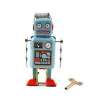 Vintage Mechanical Clockwork Wind Up Metal Walking Robot Tin Toy Kids Gift FT