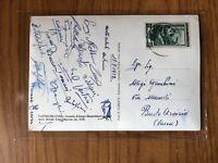 CARTOLINA CON AUTOGRAFI NAZIONALE CALCIO ITALIA 18 8 1952 VENTURI PANDOLFINI
