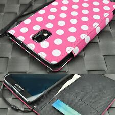 For Samsung Galaxy Note 3 III Leather Wallet Style Pink Dots Case Cover w/ Strap