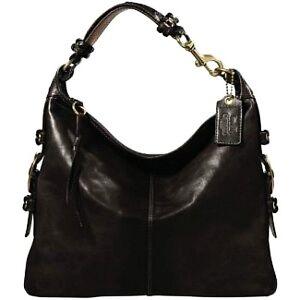 COACH Bleecker Felicia Glove Tanned Leather Black XL Slim Duffle Hobo Bag Purse