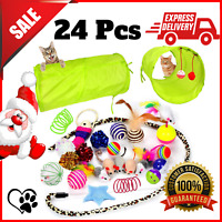 24 Assorted Cat Toys Kitten Toys 2 Way Tunnel Mouse Feather Balls Springs Fish