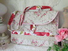 PiNK Abby Rose* PORTFOLIO BAG/LAPTOP CARRIER VTG Lace~Mother Pearl Button NEW!