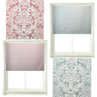 HOME DECOR - EASY TO FIT - Window Blinds Damask Roller Blind Mauve/Duck Egg Blue
