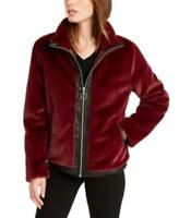Bar Iii Women's Faux-Fur Long Sleeve Zip-Front Jacket (Red, L)