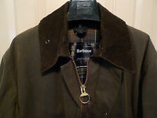 BARBOUR- A825 CLASSIC NORTHUMBRIA WAXED COTTON JACKET-OLIVE SYLKOIL-MADE @ UK-42