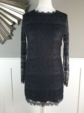 LOUCHE Dress Size 8 Black Lace Overlay Stretch Mini Tunic Long Sleeve Party