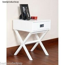 White Modern Nightstand End Accent Bedroom Side Table With Drawer Retro Bedside
