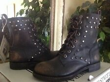 FRYE Rogan Stud Lace-up Black Vintage/Distressed Leather Combat/Biker Boots 7M
