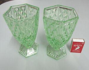 Vintage PAIR DEPRESSION GREEN GLASS VASES