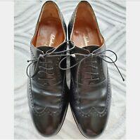 Salvatore Ferragamo Studio Italy Black Leather Wingtip Brogue Oxford Shoes 8.5 D