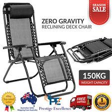 Zero Gravity Reclining Deck Lounge Sun Beach Chair Outdoor Folding Camping Black