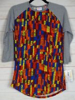 Lularoe Women's Randy Multi Color Floral with Gray Sleeves Top Size Small NWT