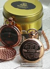 TAX DISC Pocket Watch Personalised Custom Engraved Rose Gold Classic Vintage Car