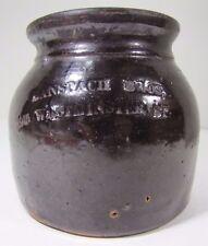 Antique BANSPACH BROS Stoneware Crock old brown decorative art Providence RI