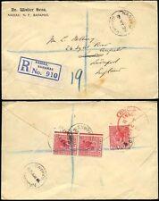 BAHAMAS KG5 1929 REGISTERED 3 x 1d WALTER HESS to GB...CORNER ETIQUETTE NASSAU