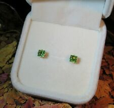 FLAWLESS! Natural Green Tsavorite Garnet 4mm square yellow gold stud earrings 💚