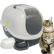 Large Dark Grey Hooded Litter Tray Box + 2 Whisker Friendly Cat Bowls CatCentre®