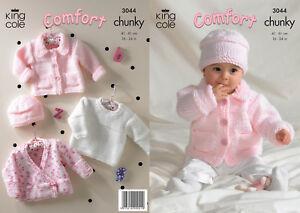 King Cole Comfort Chunky Knitting Pattern Girls Jacket Sweater Cardigan Hat 3044