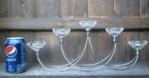 5 Tea Lights Crystal & Chrome Art Deco Candelabra Candle Holder Centrepiece