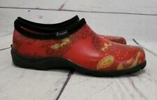 Sloggers Red Paisley Farm Garden Slip On Waterproof Shoes USA Made Women's 10