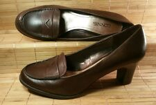 CONNIE DRESS SHOES Women's SIZE 9 1/2M Block Heel Penny Loafer Brown Leather