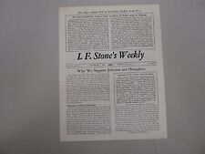 I. F. Stone's Weekly Vol. XII, No. 29 from September 7, 1964! RARE indie paper!