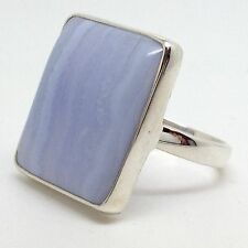 Blue Lace Agate Solid Sterling Silver ring, new, UK size P 1/2, oblong, actual 1