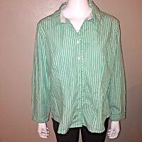 Christopher & Banks Button Down Shirt Size PXL Womens Green Striped Blouse Top