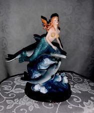 Vintage Mermaid Statue Figurine With Dolphins
