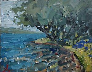 TREE RIVER LANDSCAPE OIL PAINTING BY ARTIST VIVEK MANDALIA IMPRESSIONISM
