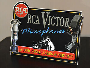 RCA Victor microphone sales and service stand up ad sign Nipper Dog Camden NJ