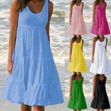 Women Summer Crew Neck Tank Midi Dress Solid Casual Sundress Loose Big Hem Dress