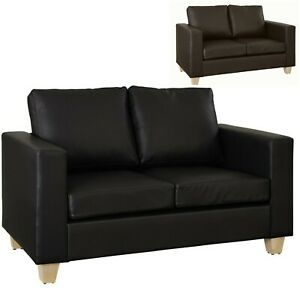 Faux Leather Sofa In A Box 2 Seater Brown Black Padded Cushions Couch Settee