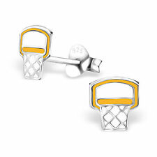 925 Sterling Silver Basketball hoop ear stud Earrings childrens gift