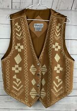 Cheyenne Autumn Brown Leather Vest Size Medium embroidered satin back
