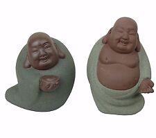 "2 Laughing Happy Buddha Budai Chinese Clay Figurine Miniatures 3""-4"" H New"