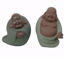 """2 Laughing Happy Buddha Budai Chinese Clay Figurine Miniatures 3""""-4"""" H New"""