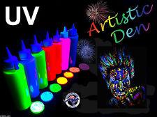 UV Neon Face Body Paint 7 X 250ml Fluorescent Black Light Fluoro Artistic Den