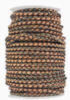 Plaited leather cord Tan & Grey 4 mm Round diameter
