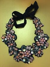 J. Crew Multicolor Floral Fabric Bib Necklace Gold Brass Crystal Cluster NEW
