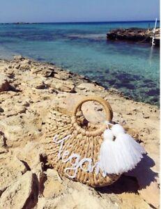 Personalised Straw Beach Bag Basket