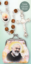PADRE PIO SAINT GLASS ROSARY BEADS WITH CLOTH PURSE CANDLES STATUES ALSO LISTED